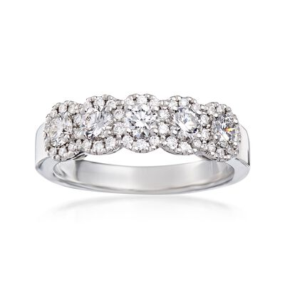 Henri Daussi .90 ct. t.w. Five-Stone Diamond Ring in 18kt White Gold, , default