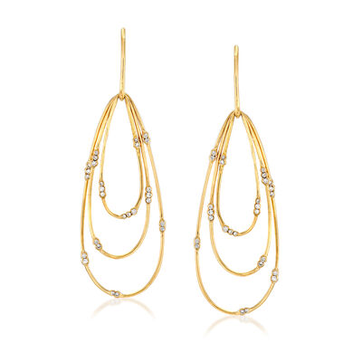 C. 1980 Vintage .65 ct. t.w. Diamond Multi-Loop Drop Earrings in 18kt Yellow Gold, , default