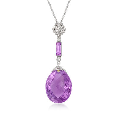 C. 1990 Vintage 25.00 ct. t.w. Amethyst and .40 ct. t.w. Diamond Pendant Necklace in 18kt White Gold