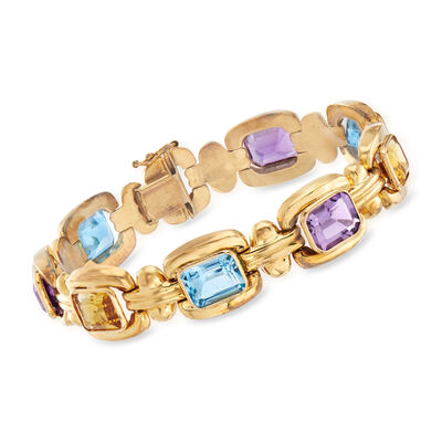 C. 1980 Vintage 25.65 ct. t.w. Multi-Gemstone Bracelet in 14kt Yellow Gold
