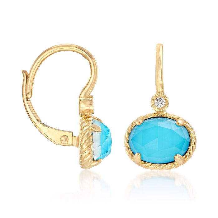 Gabriel Designs Synthetic Turquoise and 2.20 ct. t.w. Rock Crystal Quartz with Diamond Accents in 14kt Gold