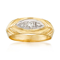 C. 1980 Vintage .13 ct. t.w. Diamond Ring in 14kt Yellow Gold, , default