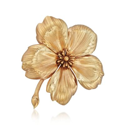 C. 1960 Vintage Tiffany Jewelry 14kt Yellow Gold Flower Pin, , default