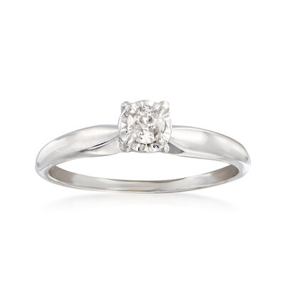 C. 1950 Vintage .15 Carat Diamond Solitaire Ring in 14kt White Gold, , default