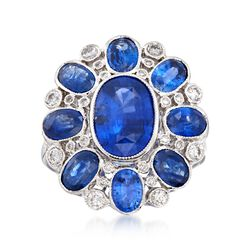 C. 2000 Vintage 5.20 ct. t.w. Sapphire and .50 ct. t.w. Diamond Dome Ring in 18kt White Gold, , default