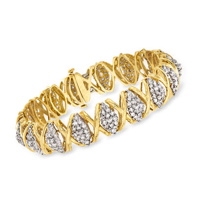 C. 1990 Vintage 4.50 ct. t.w. Diamond X-Link Bracelet in 14kt Yellow Gold