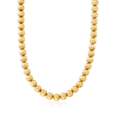 C. 1980 Vintage 18kt Yellow Gold Bead Necklace