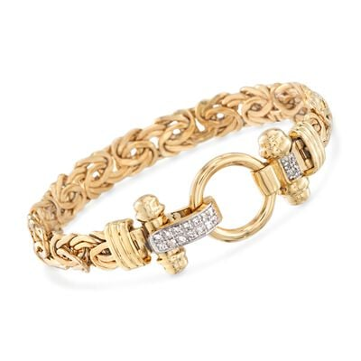 14kt Yellow Gold Byzantine Bracelet With .27 ct. t.w. Diamonds, , default