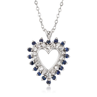 C. 1980 Vintage .55 ct. t.w. Sapphire and .50 ct. t.w. Diamond Open-Space Heart Pendant Necklace in 18kt White Gold