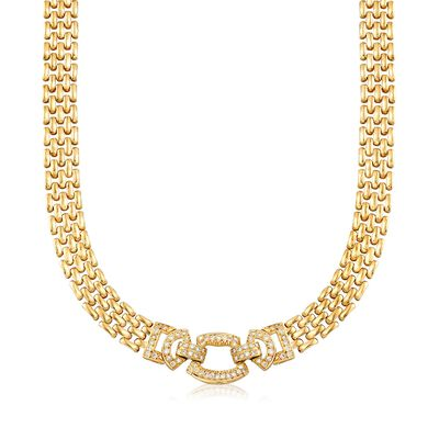 C. 1980 Vintage 1.00 ct. t.w. Diamond Geometric Panther-Link Necklace in 14kt Yellow Gold, , default