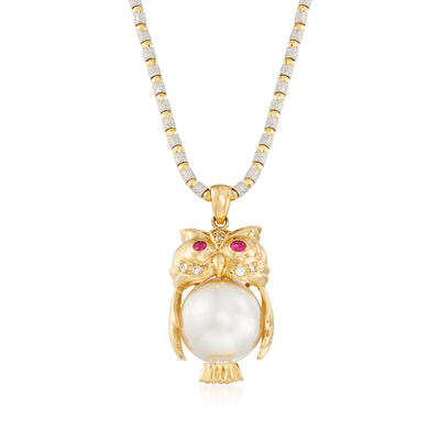 C. 1990 Vintage South Sea Pearl, .15 ct. t.w. Ruby and .10 ct. t.w. Diamond Owl Pendant Necklace in 18kt Two-Tone Gold, , default