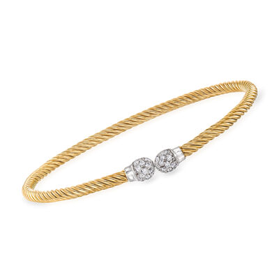 "Phillip Gavriel ""Italian Cable"" .28 ct. t.w. Diamond Cuff Bracelet in 14kt Two-Tone Gold"