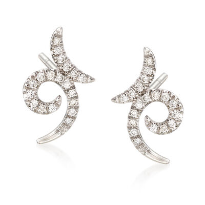 Gabriel Designs .20 ct. t.w. Diamond Swirl Earrings in 14kt White Gold
