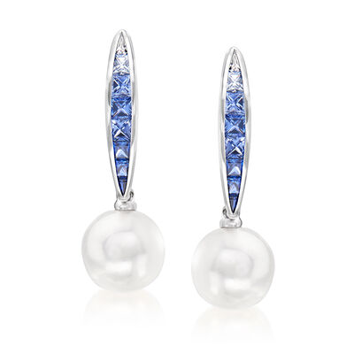 "Mikimoto ""Ocean"" 8mm A+ Akoya Pearl and .90 ct. t.w. Sapphire Drop Earrings in 18kt White Gold, , default"