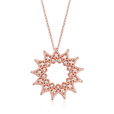 "Roberto Coin ""Roman Barocco"" .22 ct. t.w. Diamond Open Sun Necklace in 18kt Rose Gold"