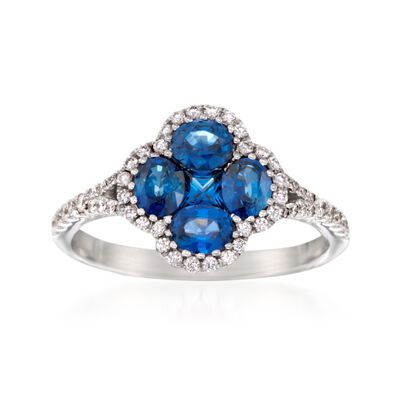 Gregg Ruth 1.34 ct. t.w. Sapphire and .30 ct. t.w. Diamond Clover Ring in 18kt White Gold, , default