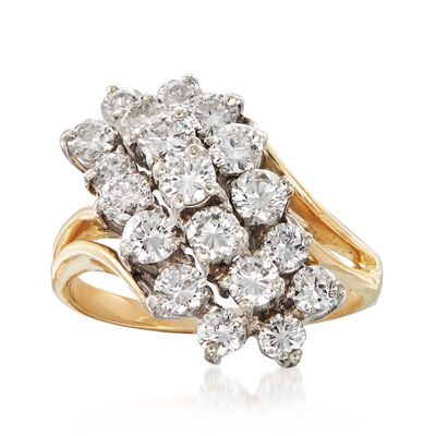 C. 1980 Vintage 2.15 ct. t.w. Diamond Cluster Ring in 14kt Yellow Gold, , default