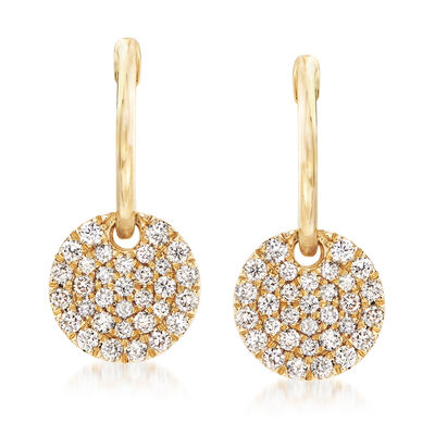 Gabriel Designs .49 ct. t.w. Diamond Hoop Drop Earrings in 14kt Yellow Gold, , default