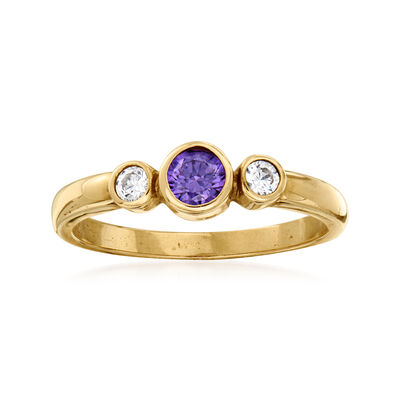 C. 1980 Vintage .37 ct. t.w. Purple and White CZ Ring in 9kt Yellow Gold
