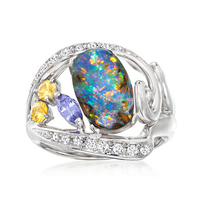 C. 2000 Vintage Boulder Opal Ring with .50 ct. t.w. Multi-Gemstones and .24 ct. t.w. Diamonds in Platinum