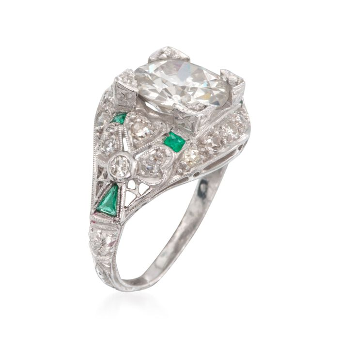C. 1990 Vintage 2.55 ct. t.w. Diamond Ring With Emeralds in Platinum