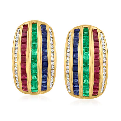 C. 1980 Vintage 3.60 ct. t.w. Multi-Gemstone and .55 ct. t.w. Diamond Curve Earrings in 18kt Yellow Gold