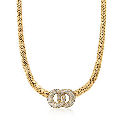 C. 1980 Vintage 4.00 ct. t.w. Diamond Double- Circle Necklace in 18kt Yellow Gold, , default