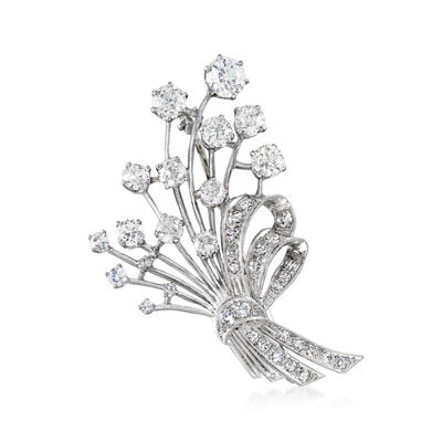 C. 1950 Vintage 4.65 ct. t.w. Diamond Bouquet with Bow Pin in Platinum, , default