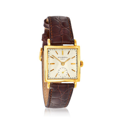 C. 1930 Vintage Patek Philippe Women's 27mm Watch in 18kt Yellow Gold with Brown Leather