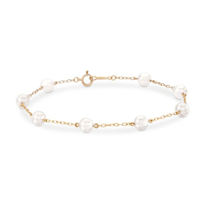 Mikimoto Akoya Pearl Bracelet in 18-Karat Yellow Gold, , default
