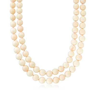 C. 1950 Vintage Pink Coral Bead Two-Strand Necklace with 10kt Yellow Gold