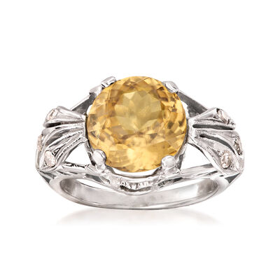 C. 1950 Vintage 5.56 Carat Yellow Zircon and .15 ct. t.w. Diamond Ring in 14kt White Gold
