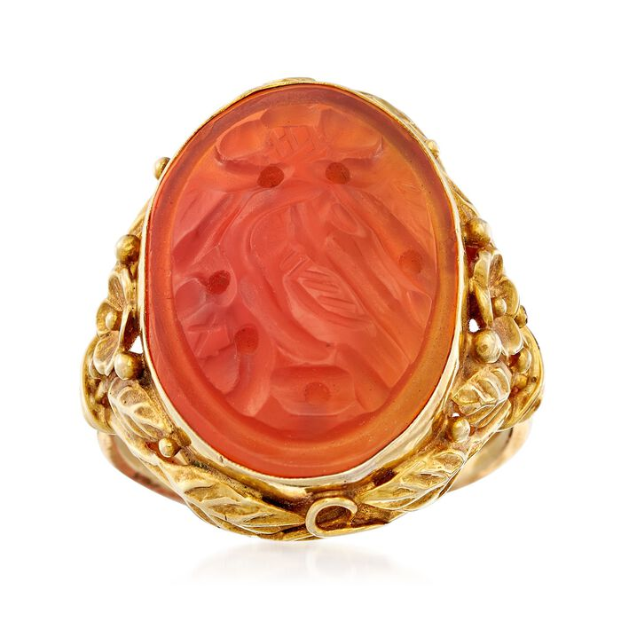 C. 1960 Vintage Bezel-Set Carved Red Carnelian Bird Ring in 14kt Yellow Gold