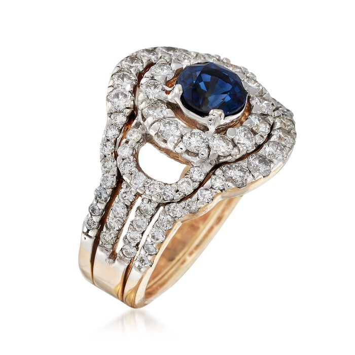 C. 1980 Vintage 1.00 Carat Sapphire and 2.00 ct. t.w. Diamond Round Frame Ring in 14kt Yellow Gold