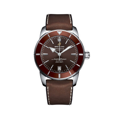 Breitling Superocean Heritage II Men's 42mm Stainless Steel Watch - Bronze Dial and Brown Leather Strap, , default