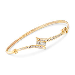 C. 1990 Vintage .55 ct. t.w. Diamond Bypass Bangle Bracelet in 14kt Yellow Gold, , default