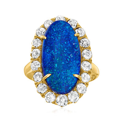C. 1930 Vintage Black Opal Ring with 1.30 ct. t.w. Diamonds in 14kt Yellow Gold