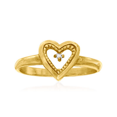 C. 1940 Vintage 10kt Yellow Gold Heart Ring with Diamond Accent