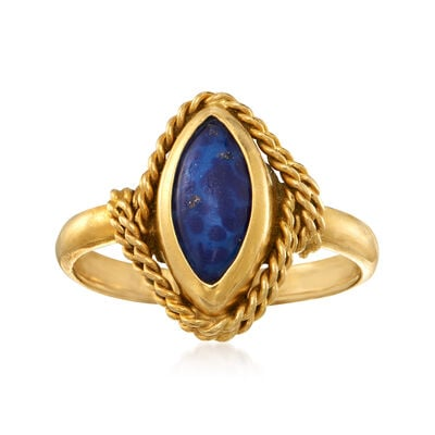 C. 1970 Vintage Simulated Lapis Navette Ring in 18kt Yellow Gold, , default
