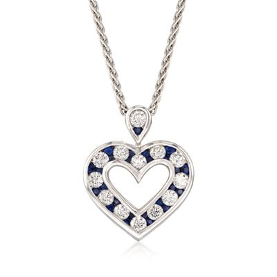 C. 2000 Vintage 1.10 ct. t.w. Diamond and .50 ct. t.w. Sapphire Open-Space Heart Pendant Necklace in Platinum, , default