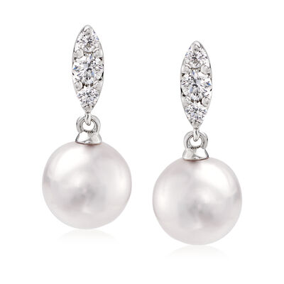 "Mikimoto ""Morning Dew"" 7.5mm A+ Akoya Pearl and .19 ct. t.w. Diamond Drop Earrings in 18kt White Gold"