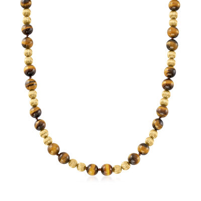 C. 1970 Vintage 9.5mm Tigereye Necklace in 14kt Yellow Gold