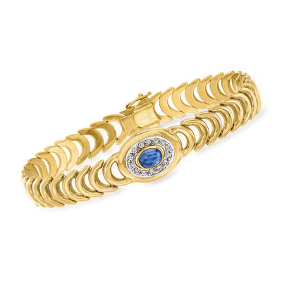C. 1980 Vintage 1.20 Carat Sapphire and .30 ct. t.w. Diamond Bracelet in 14kt Yellow Gold