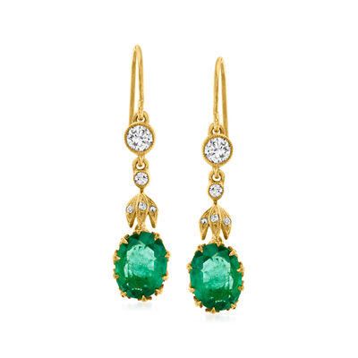 C. 1980 Vintage 2.00 ct. t.w. Emerald and .35 ct. t.w. Diamond Drop Earrings in 10kt Yellow Gold