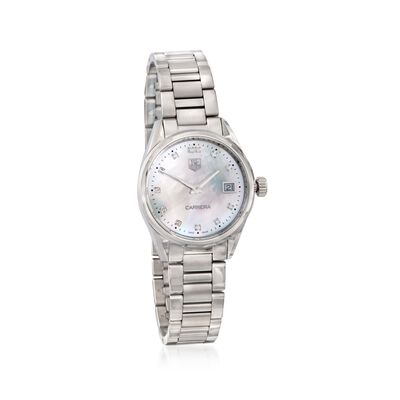 TAG Heuer Carrera Women's 32mm Stainless Steel Watch with Diamonds - Mother-Of-Pearl Dial