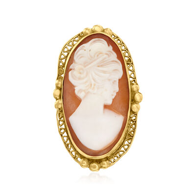 C. 1950 Vintage Pink Shell Elongated Cameo Ring in 14kt Yellow Gold