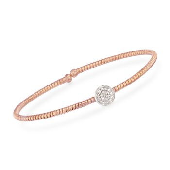 "Simon G. .14 Carat Total Weight Diamond Circle Flex Bangle in 18-Karat Rose Gold. 7"", , default"