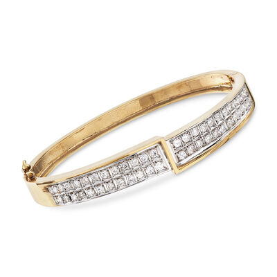 C. 1980 Vintage 1.50 ct. t.w. Diamond Bangle Bracelet in 14kt Yellow Gold