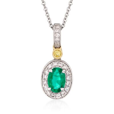 C. 2018 Simon G. .45 Carat Emerald and .14 ct. t.w. Yellow and White Diamond Pendant Necklace in 18kt Yellow and White Gold, , default