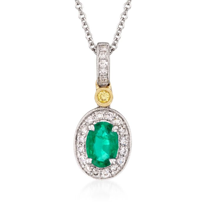 C. 2018 Simon G. .45 Carat Emerald and .14 ct. t.w. Yellow and White Diamond Pendant Necklace in 18kt Yellow and White Gold